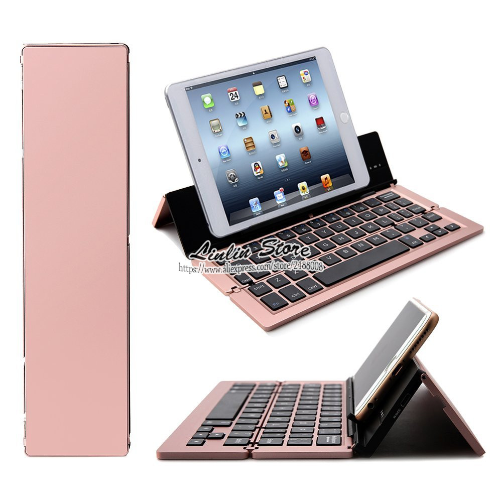 Foldable Pocket Ultra-Slim Universal Bluetooth Keyboard for iPhone 5 5S SE 6 6S 7 Plus / iPad Mini 1 2 3 4 /iPad 2 3 4 Air Pro foldable bluetooth v3 0 keyboard for ipad air black