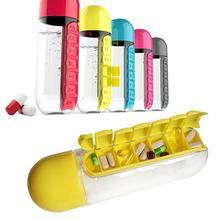 1 unid 600 ML Del Color Del Caramelo caja de La Píldora Botella de Agua Siete Diarios Caja de la píldora Organizador Portable Kit Tritian Combine Plástico Botella de Agua S2
