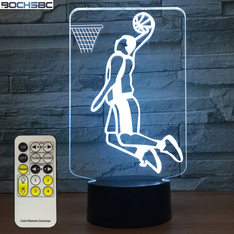 BOCHSBC 3D dunk basketball player 7 Colors Change Table Lamp USB LED Acrylic Night Light Lampara for Bedroom Art Decor Kids Gift