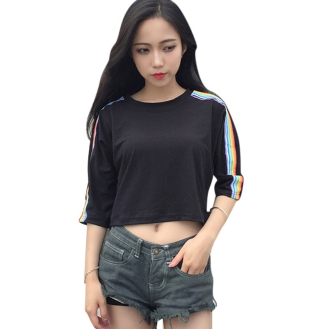 24128ef170a922 M-2XL Plus Size Rainbow Striped Side Sleeve Short Tops Women O Neck Half  Sleeve Summer Crop Tops Female Harajuku T-shirts
