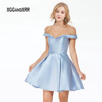 14015926f43bc Light Blue Satin Dress Ball Gown Short Homecoming Dress 2019 Mezuniyet  Elbiseleri Sweetheart Off Shoulder Sexy