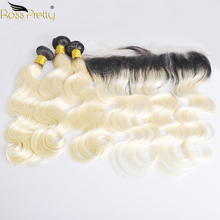Ross Pretty Peruvian Body Wave Remy Hair Bundles With Frontal Ombre 1b blonde pre plucked Lace with bundle 1b/613