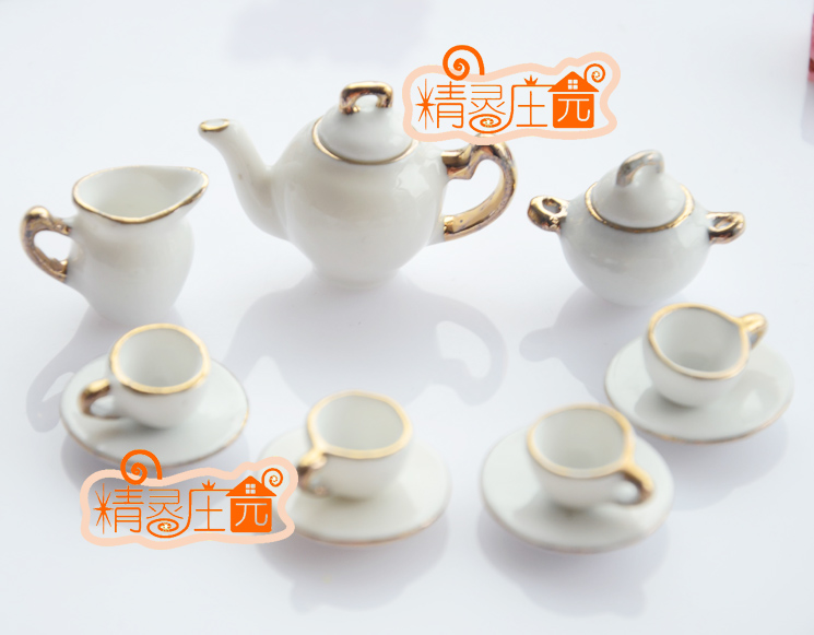 MINI dollhouse miniature Pure line drawing of Phnom Penh mini ceramic tea sets tea and coffee