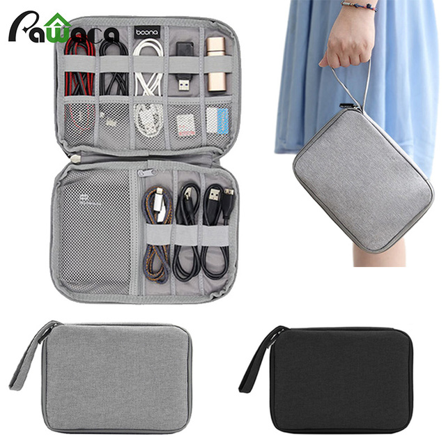 New portable travel digital USB cable storage bag Electronic ...
