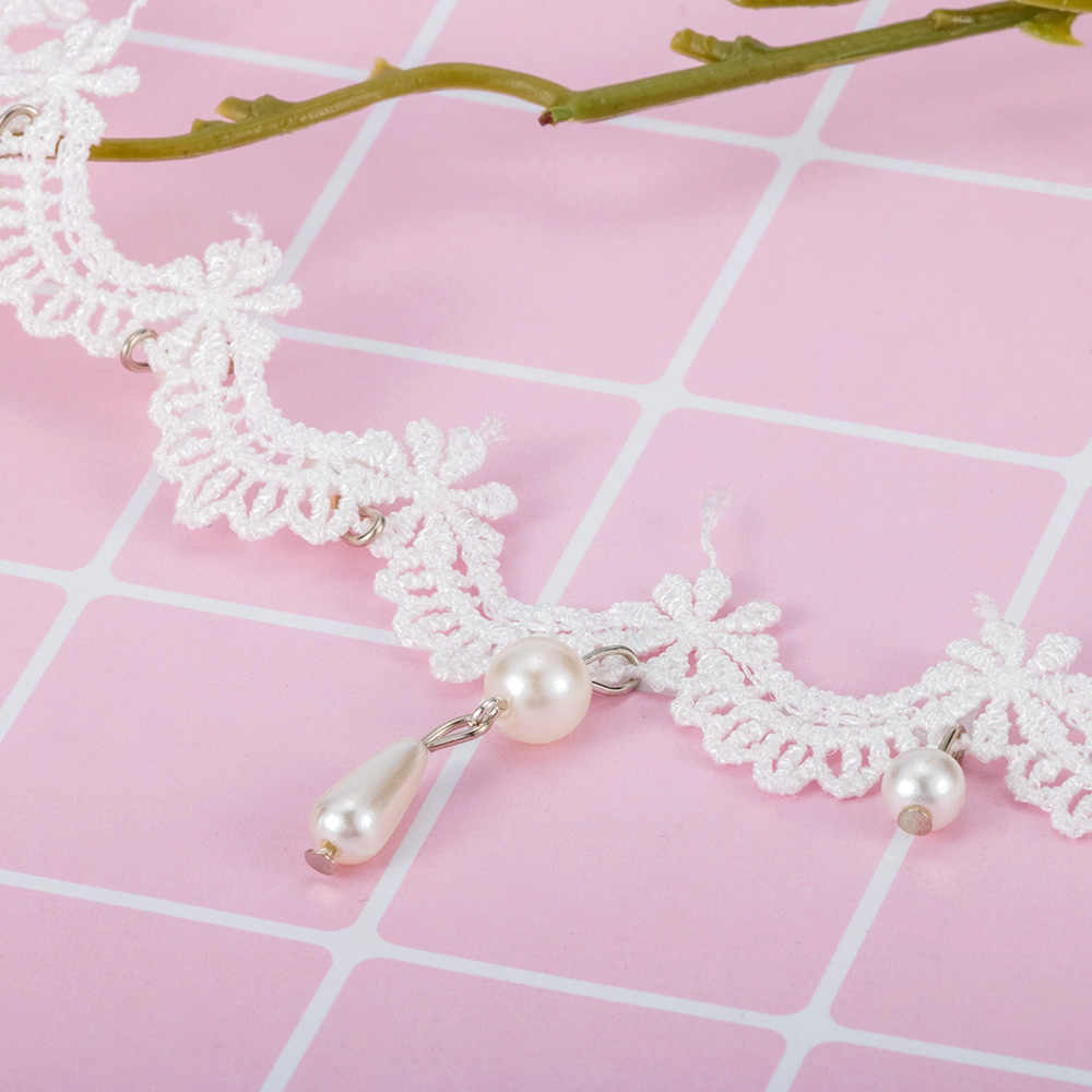 Lady White Lace Choker Necklace Imitation Pearl Pendant Necklace Bride Wedding Elegant Jewelry Accessories