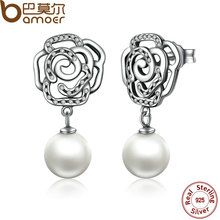 BAMOER 2017 New 100% Authentic 925 Sterling Silver Rose and Pearl Female Earrings TOP Quality Drop Earrings Jewelry SCE001
