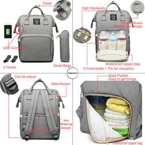 Image 5 - Сумки для подгузников Lequeen с USB интерфейсом, для мам, большие дорожные рюкзаки для младенцев, дизайнерская сумка для ухода за детьми