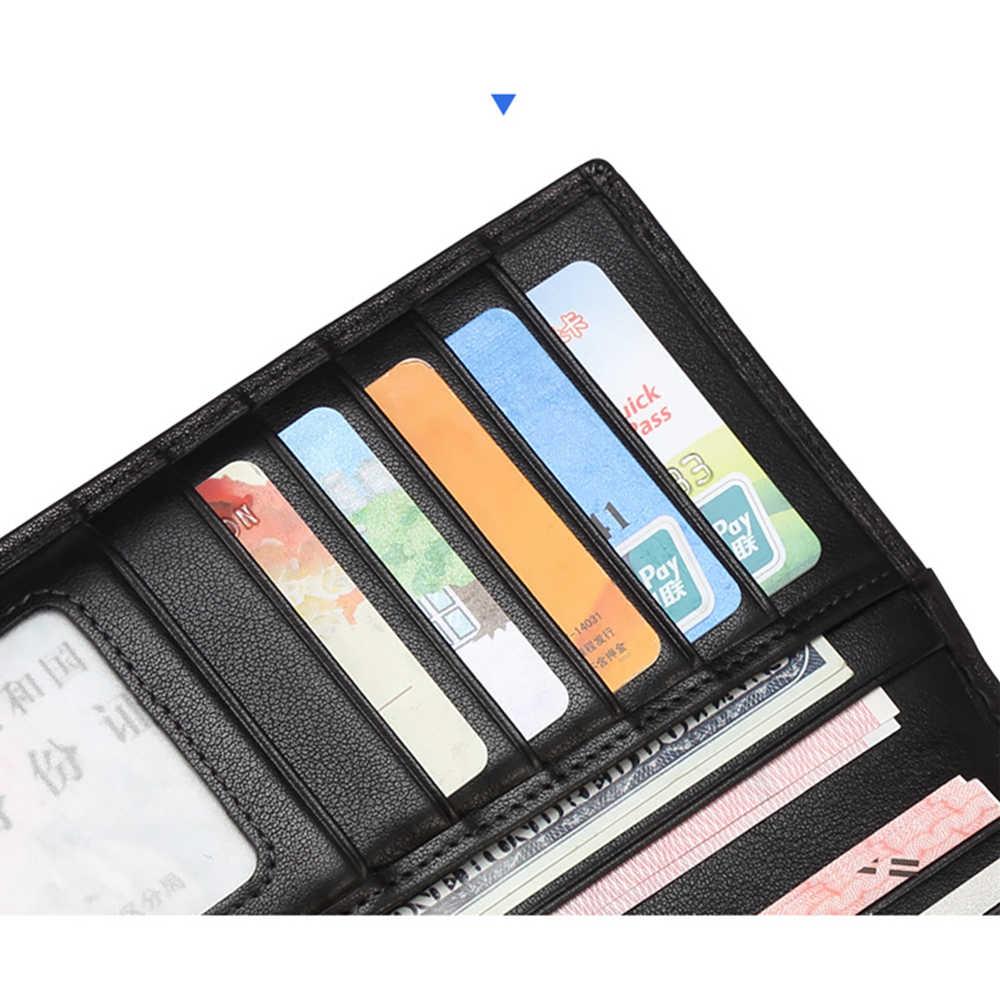 Бизон джинсовый кошелек из натуральной кожи кошелек для Мужская, из бычьей кожи Длинный держатель для карт чехол-портмоне сумочки известного бренда carteira masculina N4456-1