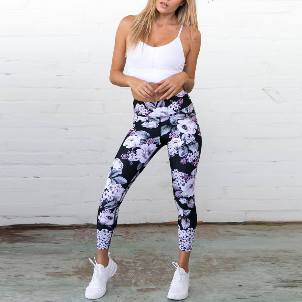 Women Modis   Leggings   High Waist Elastic Waist Floral Print Bodybuilding Fitness Pencil Stretched Push Up Jeggings Legins Femme