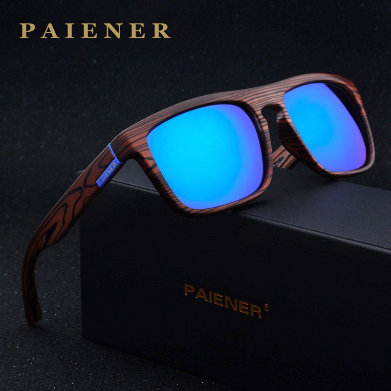 2017 Retro Imitation Bamboo Wood Polarized Sunglasses Women Men Brand Designer sunglass Sport Goggles Sun Glasses oculos de sol