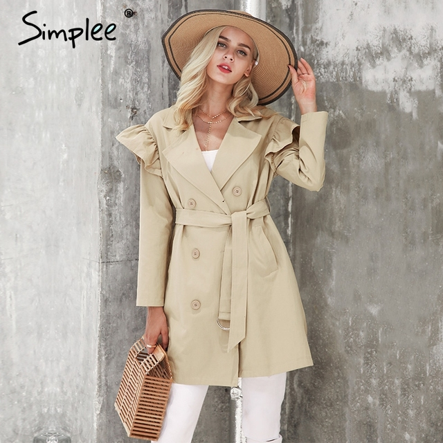 Simplee рюшами плащ женские Верхняя одежда и пальто осень створки карман уличная Тренч 2017 Повседневное Розовый пиджаки женские пальто