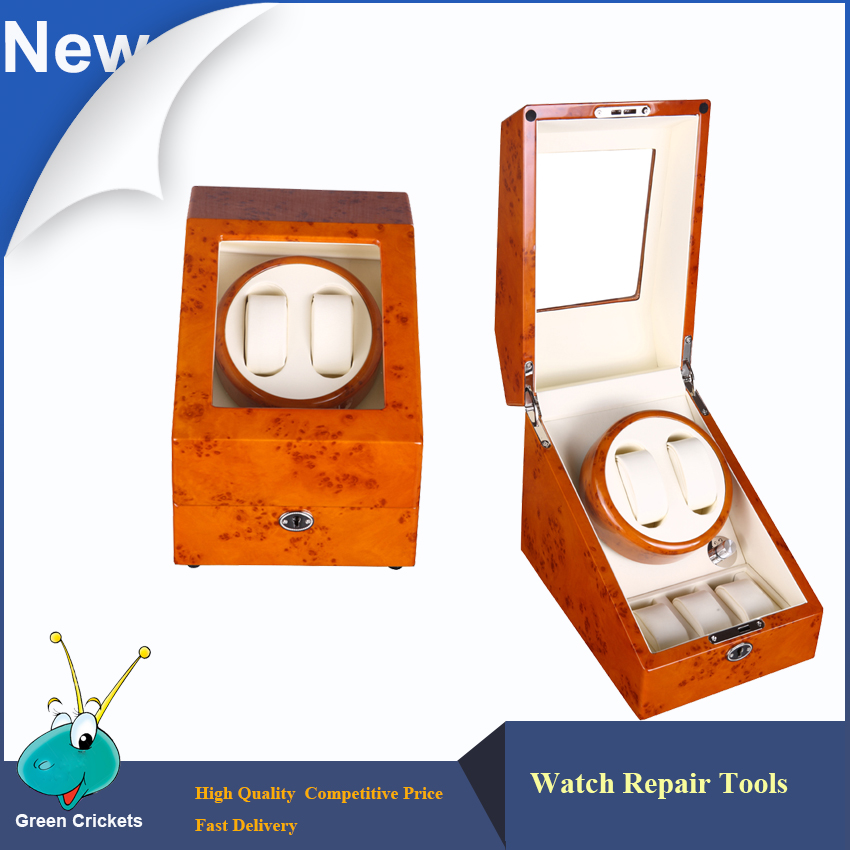 2016 Latest Luxury 5 Modes German Motor Watch Winder,Yellow spray-paint Wooden White PU  Leater Inside automatic Watch Winder 2016 latest luxury 5 modes german motor watch winder yellow spray paint wooden white pu leater inside automatic watch winder