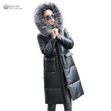 Real Fox Fur Collar Genuine Leather Coat Women Plus Size Real Leather Jacket White Duck Down Outerwear Sheepskin Overcoat OK1287