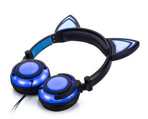 Image 4 - JINSERTA 2020 고양이 귀 헤드폰 LED 귀 헤드폰 고양이 이어폰 번쩍이는 헤드셋 성인과 어린이를위한 게임 이어폰