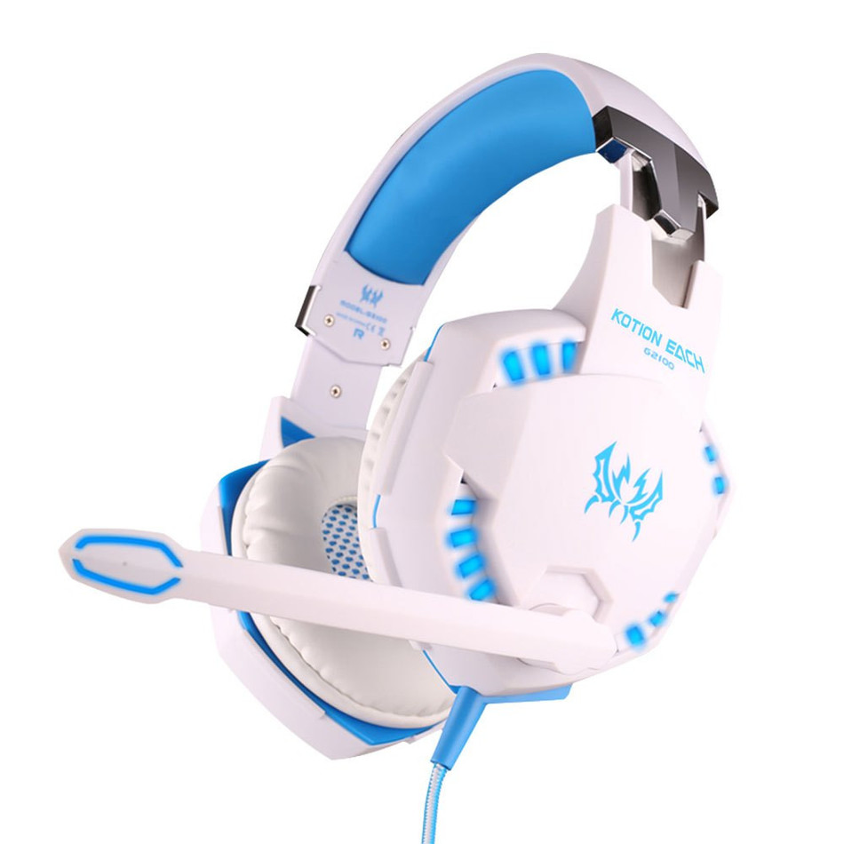 EACH G2100 Noise Cancelling Vibration LED PC Gaming Headset Glow Headband Head phones Casque Audio Stereo Bass for Headphone top brand onear headphone gaming headphones headset stereo bass noise canceling for pc iphone 6 5s 4s mobile phones
