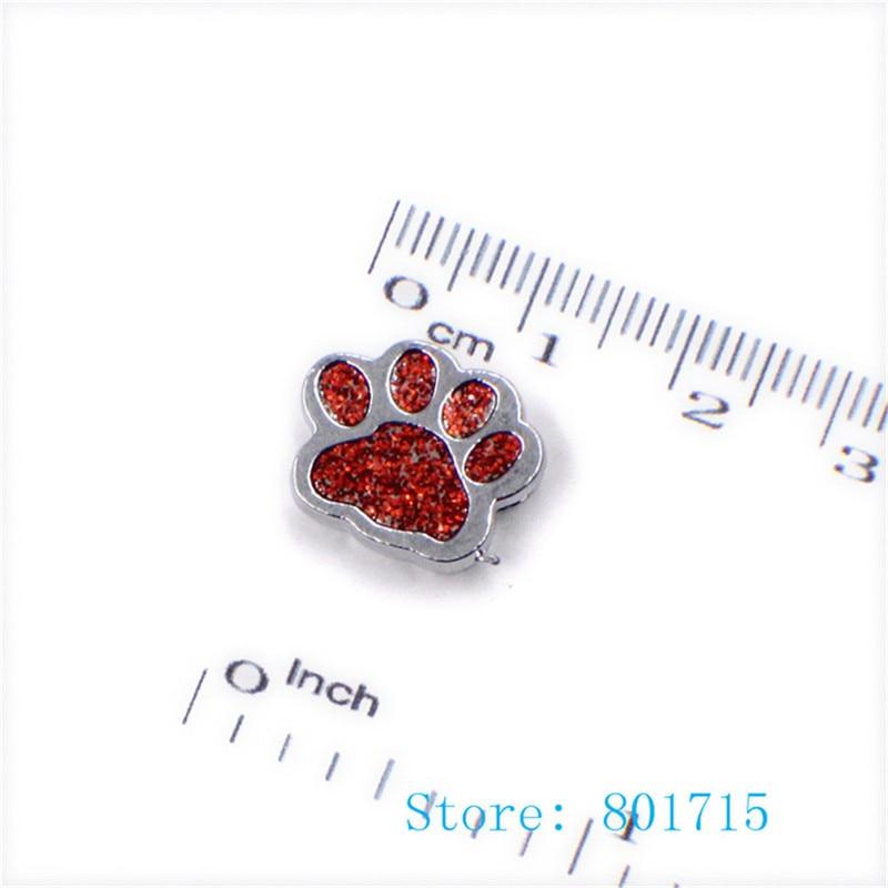 wholesale 50pcs SL505 Internal Dia. 8mm dog paw footprint slide Charms Jewelry Finding fit 8mm wristband pet collar key chain
