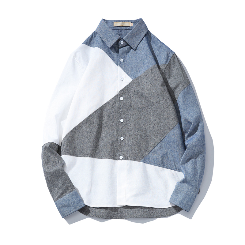 2018 Spring New Arrivals Japanese Fashion Trend Personality Spliced Length Sleeve Button Male Shirt Hit Colors Casual Camisa men
