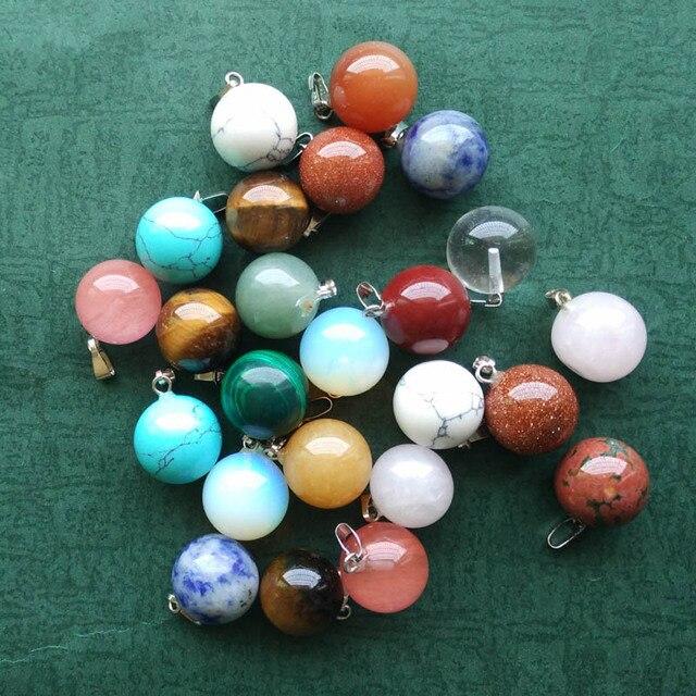 도매 50 개/몫 패션 베스트 셀러 모듬 천연 돌 둥근 공 모양의 매력 펜던트는 무료 만들기 목걸이에 맞게