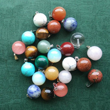 wholesale 50pcs/lot  fashion bestselling assorted natural stone round ball shape charms pendants fit necklaces making free