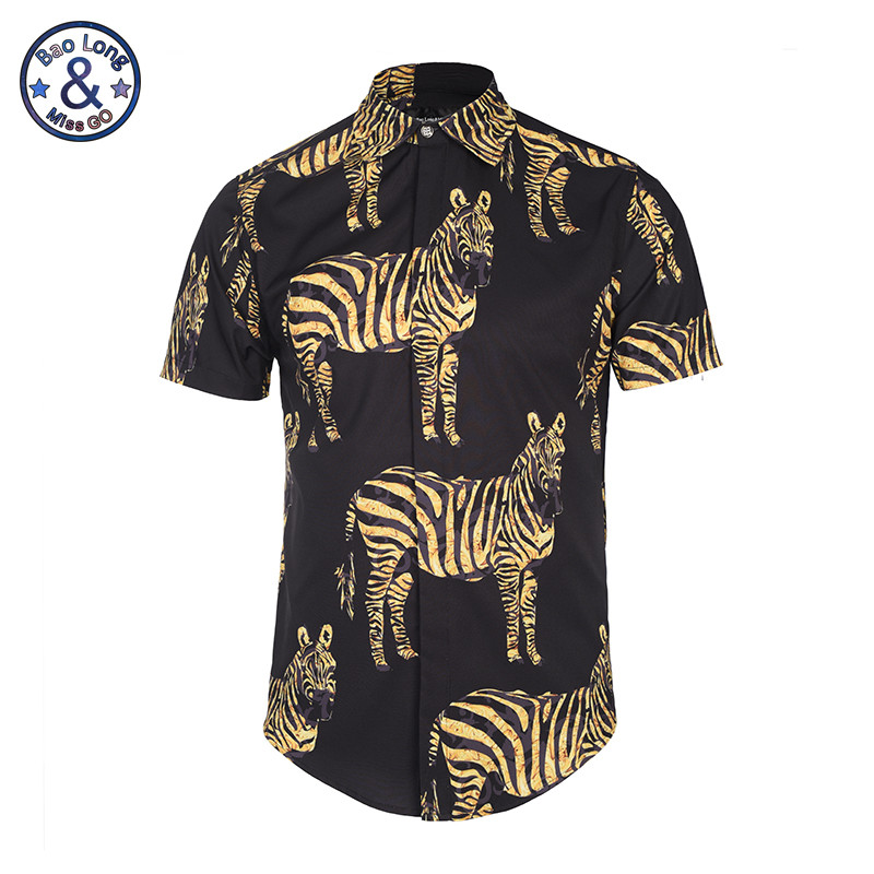 2017 Summer Men Short Sleeve Floral Dress Shirts Unique Medusa Shirt Fashion 3D Print Luxury Harajuku 3D gold flower zebra print