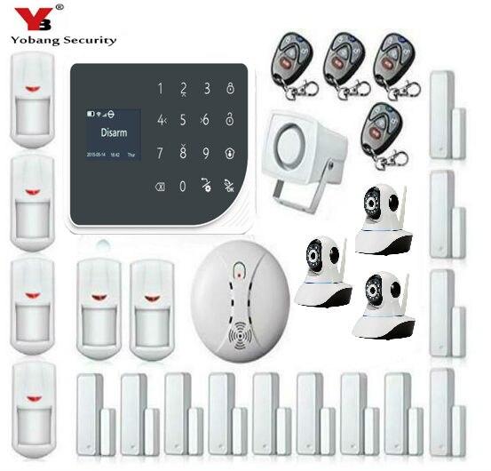 YoBang безопасности Touch Панель Беспроводной проводной безопасности дома тревоги Системы приложение Remote Управление видео IP Камера Дым пожарны...