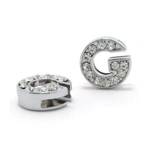 A-Z, 8 мм, стразы, кулон, буквы, подходят для DIY, подарок, шарм, кожаный браслет, браслет, пояс, ожерелье, ювелирные аксессуары - Окраска металла: G