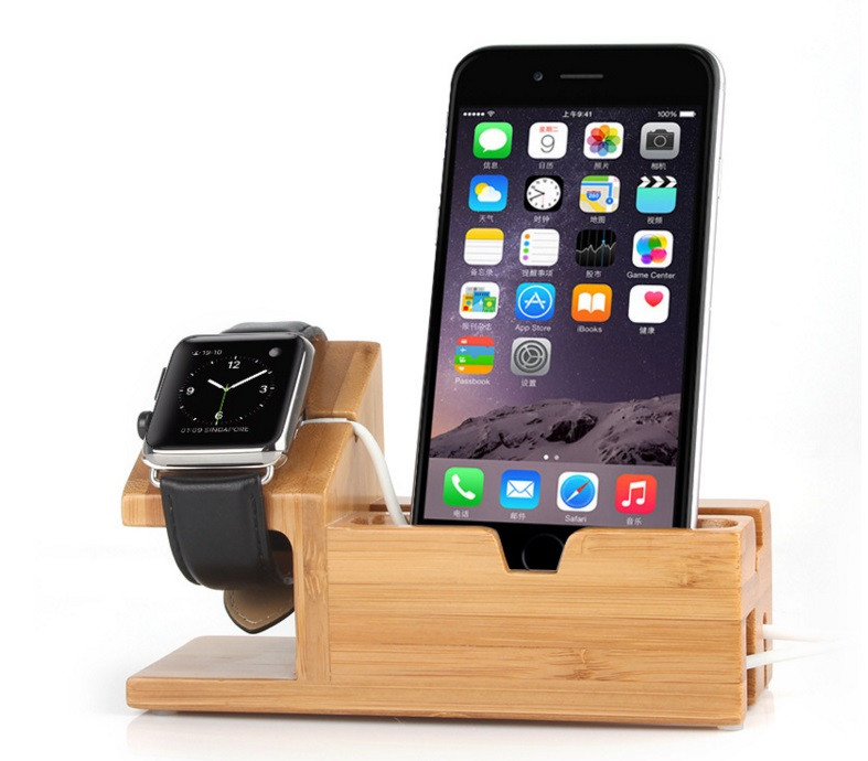 Multi-Function Natural  Bamboo Wood Charge Holder Cradle Bracket For Apple Watch/ iPhone7 7plus 6 6S Plus 5 5SMulti-Function Natural  Bamboo Wood Charge Holder Cradle Bracket For Apple Watch/ iPhone7 7plus 6 6S Plus 5 5S