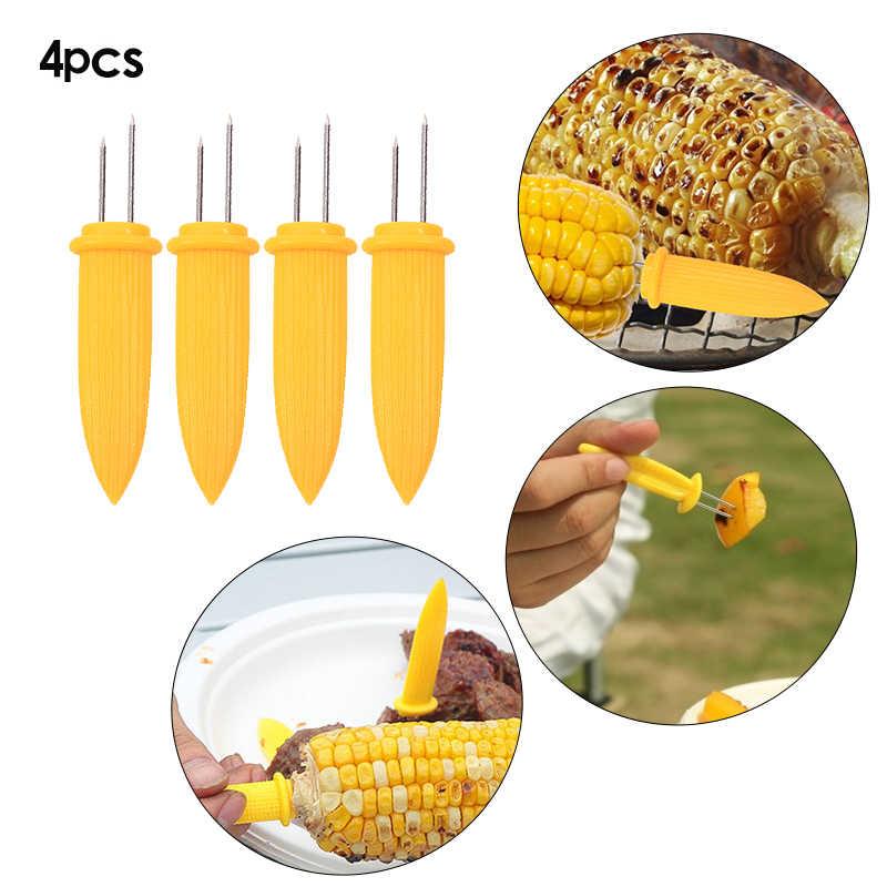 Caja fuerte de maíz en los soportes de mazorca, puntas de aguja de pinchos para barbacoa, herramientas de mano de jardín, tenedor 4 Uds