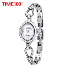 Купить с кэшбэком  TIME100 Women Watches Silver Alloy Bracelet Shell Dial Ladies Waterproof Quartz Wrist Watches For Women relogio feminino