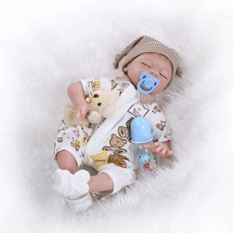 Sleeping reborn baby doll lifelike newborn bebe doll full body silicone reborn with Closed Eyes Lifelike Realistic toys for kids 55cm silicone reborn babies dolls closed eyes sleeping newborn baby lifelike best baby doll toys gifts