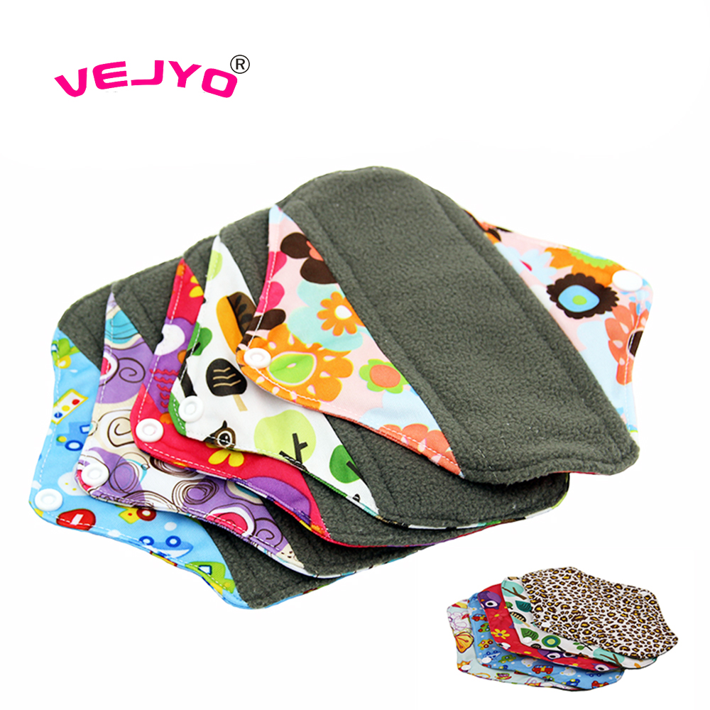 VEJYO 20pcs lot 10 Inches Regular Flow Charcoal Bamboo Washable Reusable Menstrual Sanitary Cloth Pads Soft