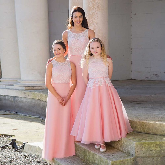 New Long Pink Blush Chiffon Lace Bridesmaid Dresses With Bow Floor Length  Wedding Guest Dresses Maid Of Honor Gowns B73 d84252506477