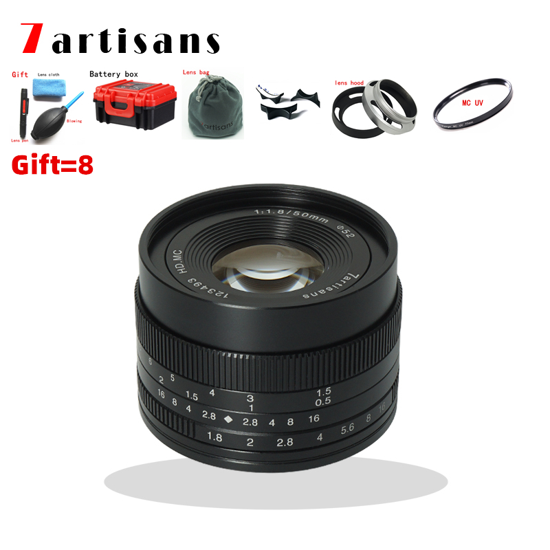 7artisans 50mm F1.8 Large Aperture manual Micro fixed focus Portrait camera lens for Canon EOSM Sony E M4/3 and Fuji FX camera image