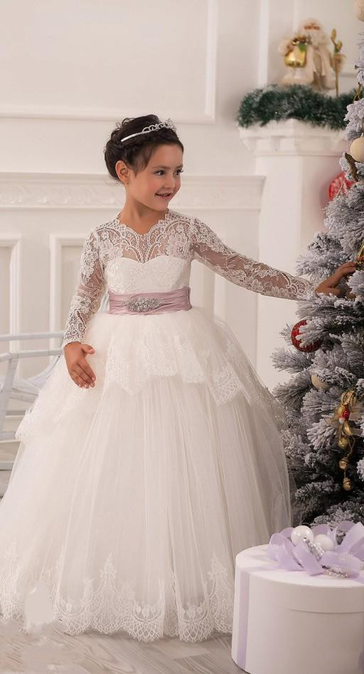 2019 New Arrival Christmas   dresses   Ball Gown Beaded   Flowers     Girl     Dresses   With Lace Sleeves Communion   Dress     Girls   Pageant   Dresses