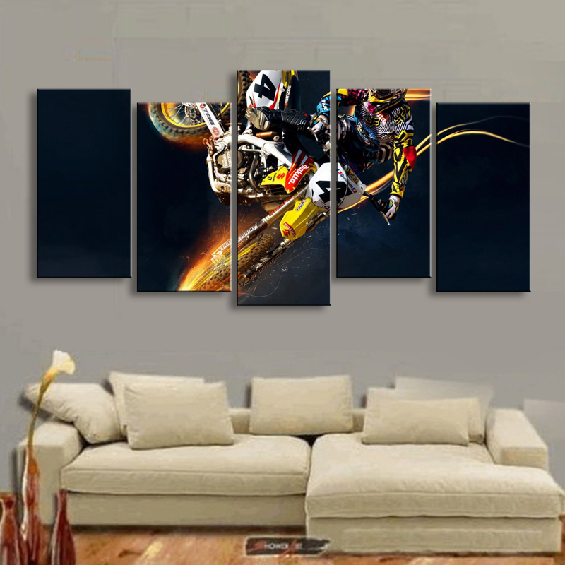Home Framework Living Room HD Printed Modern Painting 5 Panel Motocross Modular Decoration Posters Picture On Canvas Wall Art
