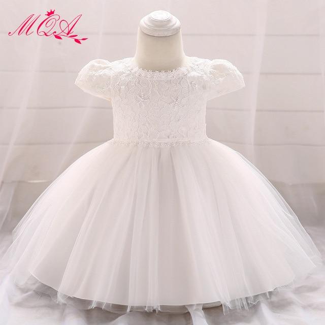 7299b413c MQATZ flor blanco bebé niñas vestido de verano con cuentas tul las Bebé  Vestidos encaje para 1st cumpleaños niño niña Bautismo
