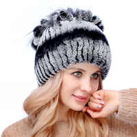 2018 fashion rex rabbit fur hat ladies autumn and winter fur hat double thick cold earmuffs knitted wool outdoor warm hat
