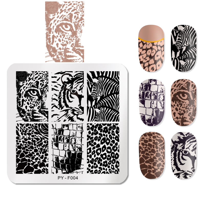 PICT YOU 6cm * 6cm Square Leopard Nail Stamping Plates Animal Patterns Stencil Tools Stainless Steel Nail Art Stamp Design