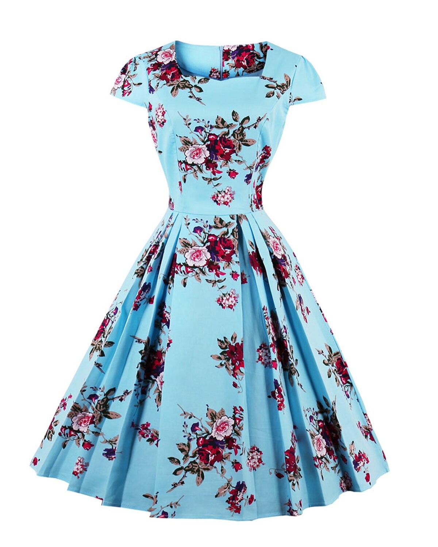 Retro Vintage Floral Print A-Line Dress 2