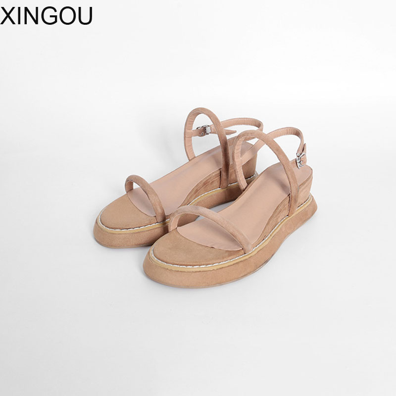 New Wedges sandal women Flock leather thick bottom female sandals buckle lady high heels shoes Waterproof platform sandals new summer sandal high heel women thick bottom female sandals casual shoes fashion leather sandal comfortable sweet cute woman