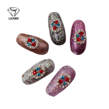10 PCS 2017 New Red/Blue Two Colors Nail Art 3D Rhinestone Alloy DIY Decorations Jewelry Nails Salon Sticker Supplies Accessorie