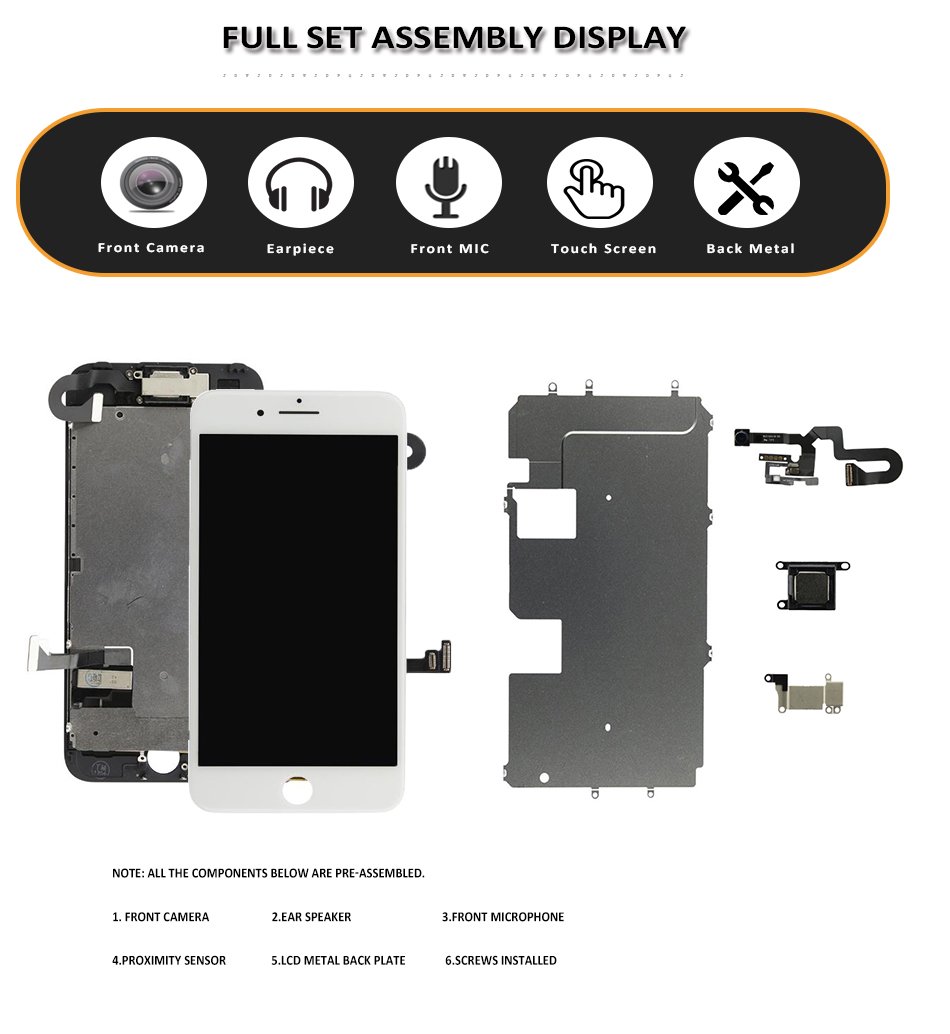 Image 2 - Full Set LCD for iPhone 7G 7 Plus LCD Complete Assembly Display Touch Screen Digitizer Replacement No Home Button Front Camera-in Mobile Phone LCD Screens from Cellphones & Telecommunications