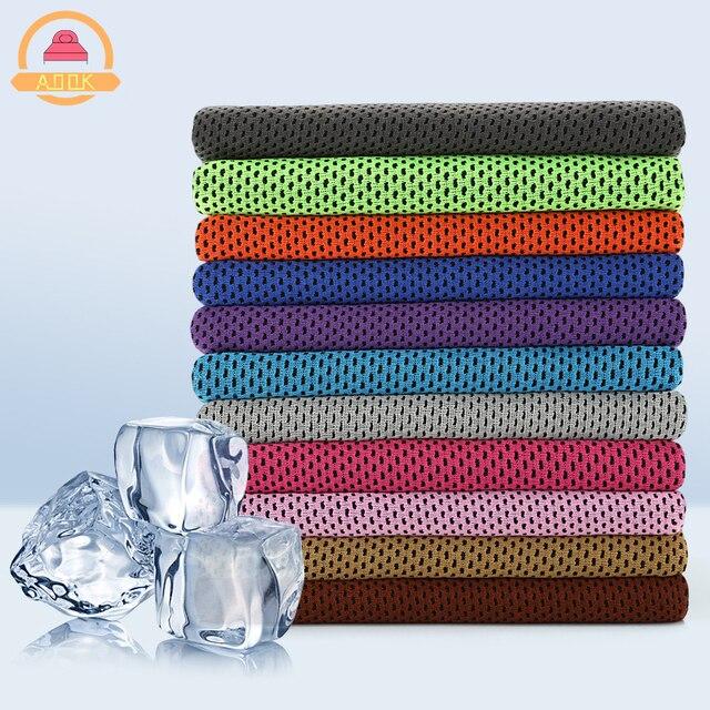 Trasporto di goccia di Sport Asciugamano Ghiaccio 9 Colori 90*30 cm Utility di Raffreddamento Duraturo Istante Viso Asciugamano Rilievo di Calore Riutilizzabili freddo Asciugamano Fresco