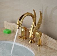 Wholesale And Retail Promotion Luxury Golden Brass Bathroom Swan Basin Faucet Diverter W Hand Sprayer Mixer