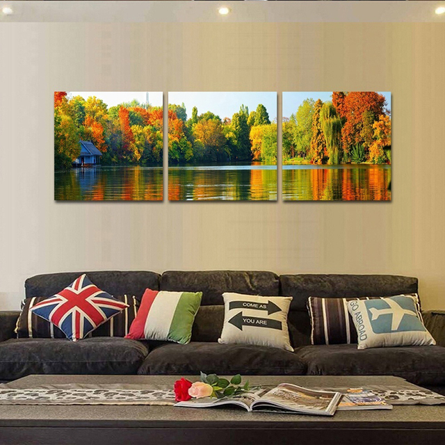 Canvas Pictures HD Prints Wall Art 3 Pieces Forest Trees Lake ...