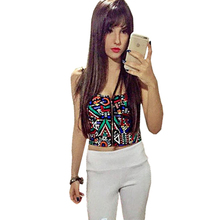 CropTop Short Sling Corset Wrapped Chest Tank Top Summer Women Night Club Sexy Exposed Navel Geometry Fight Color Printing Tops