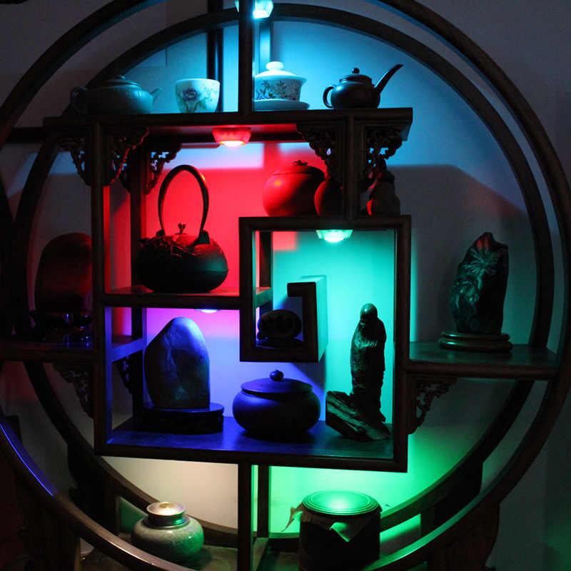 Светодиодный светильник под шкаф с сенсорным управлением RGB Led Puck Light пульт дистанционного управления 12 цветов беспроводной кухонный шкаф для спальни ночник