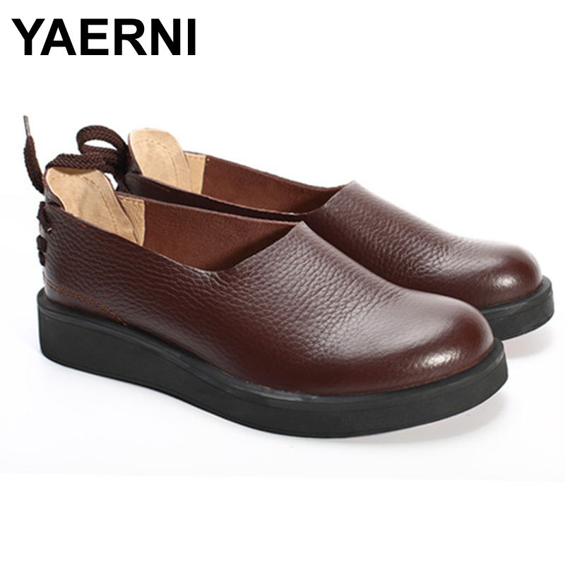YAERNI  Women Shoes Flat 100% Authentic Leather Ladies Flat Shoes Round Toe Mary Jane Flats Female Footwear (1023-1) wegogo ethnic women embroidery shoes mary jane shoes flats dance soft canvas dancing shoes zapatos mujer ladies flat shoes