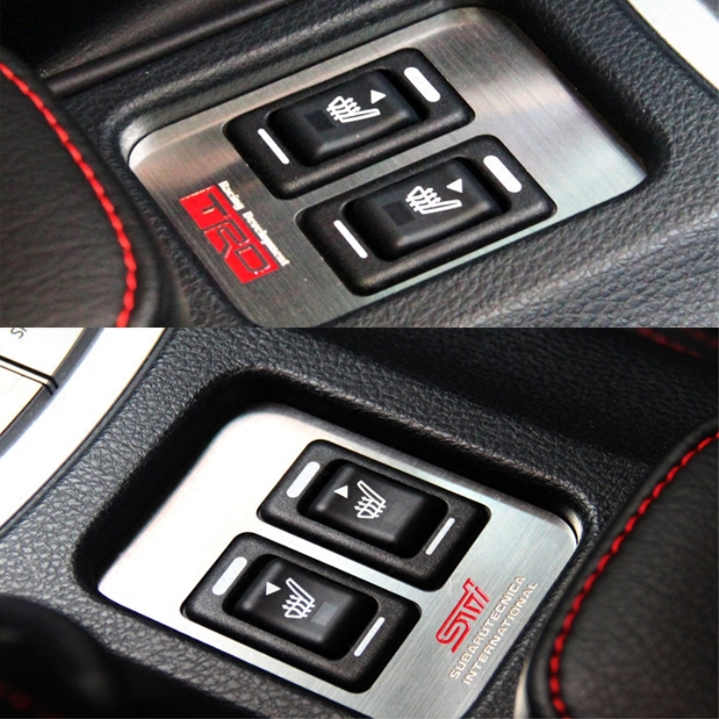 E-Auto Mall Metal Car Center Console Heater Switch Trim Sport Mode Cover Frame STI TRD Emblem Logo Stickers for Toyota 86 SUBARU BRZ Outback