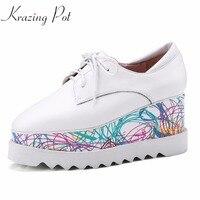 Krazing Nồi mới đến phụ nữ da bò phụ nữ chân vuông wedges lace up chân dài hỗn hợp sơn màu tăng giày L91